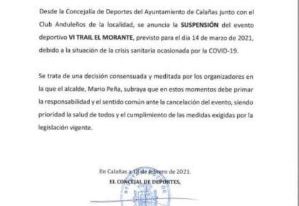 Comunicado suspension Trail El Morante 2021